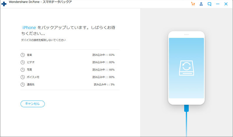 iPhoneの中身のデータのバックアップが始まり