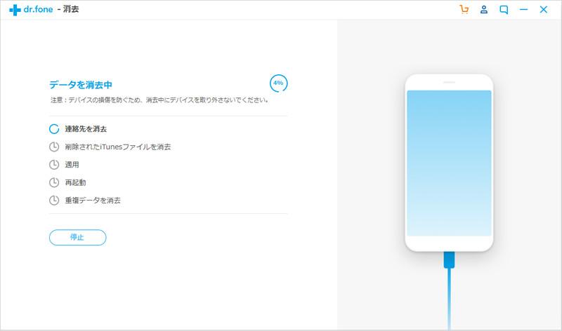 iOSデバイスのデータを消去