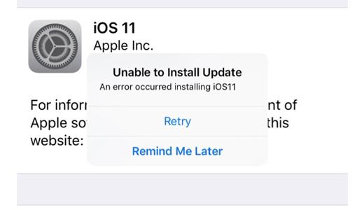 ios 12 update - installing update error